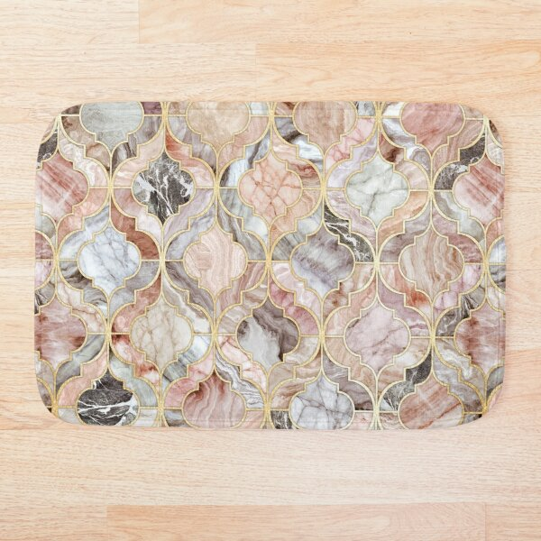 Rose Marble Moroccan Tile Pattern Bath Mat