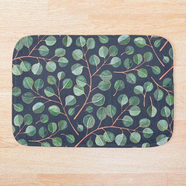 Simple Silver Dollar Eucalyptus Leaves on Navy Blue Bath Mat