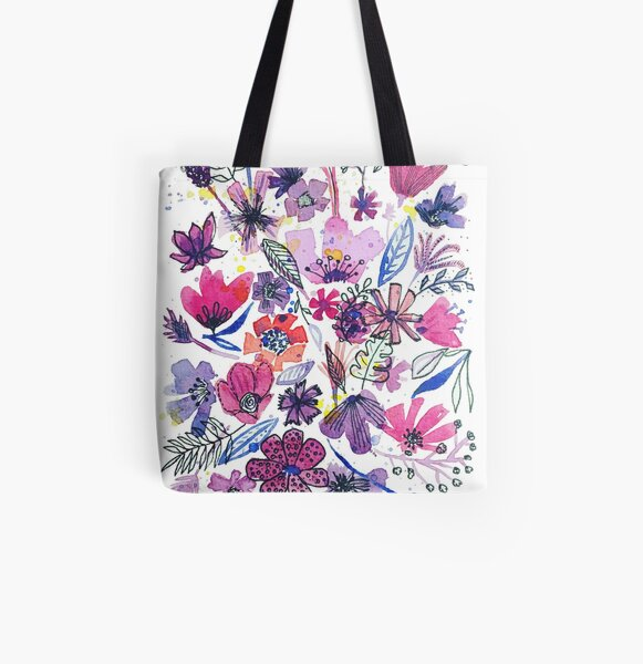 lila Blumenchaos Allover-Print Tote Bag