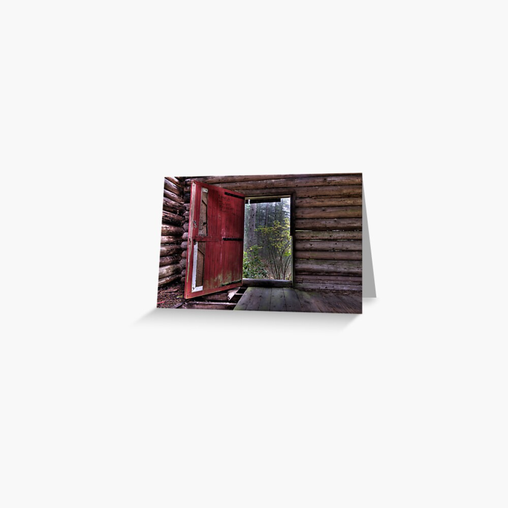 Red Door at the Cabin Greeting Card