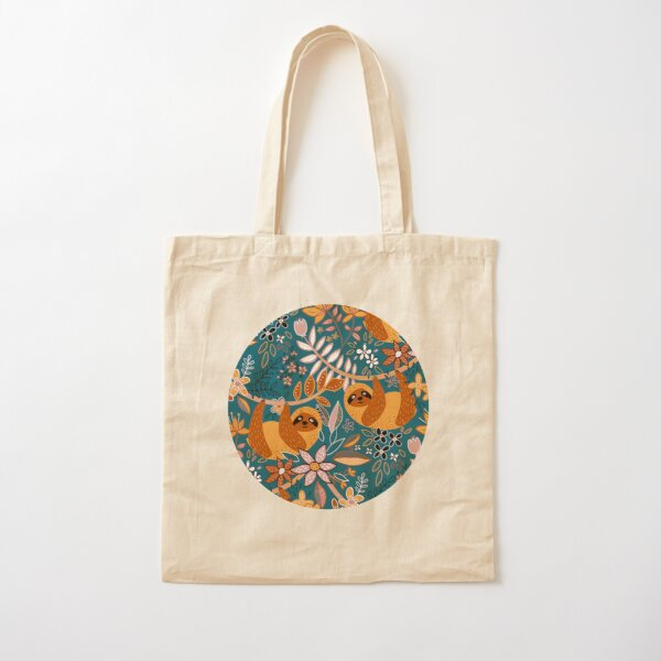 Happy Boho Sloth Floral  Cotton Tote Bag