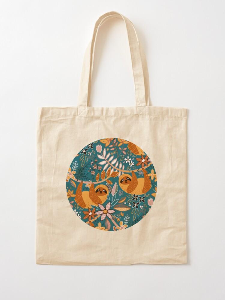 Alternate view of Happy Boho Sloth Floral  Tote Bag