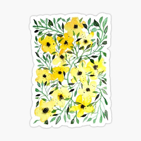 gelbe Blumenranke Sticker