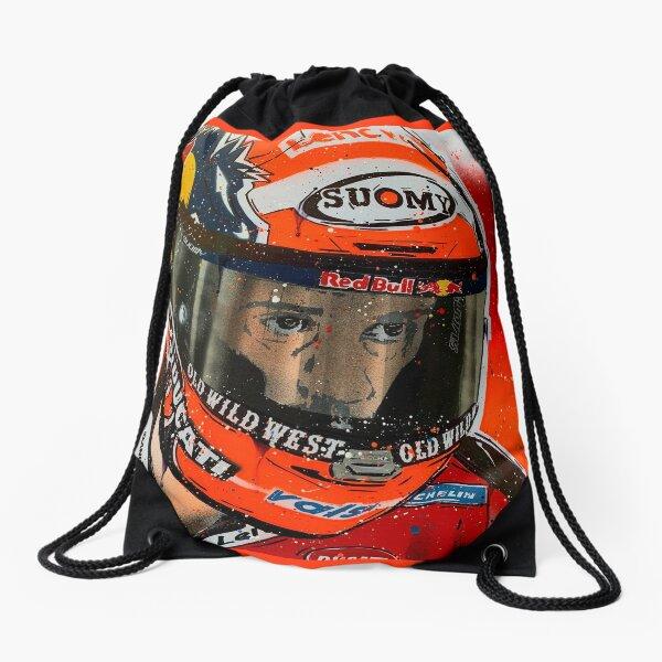 Andrea Dovizioso MotoGP graffiti painting by DRAutoArt Drawstring Bag