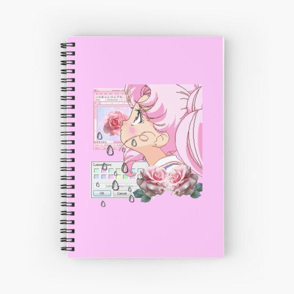 Vaporwave Chibi Moon Spiral Notebook