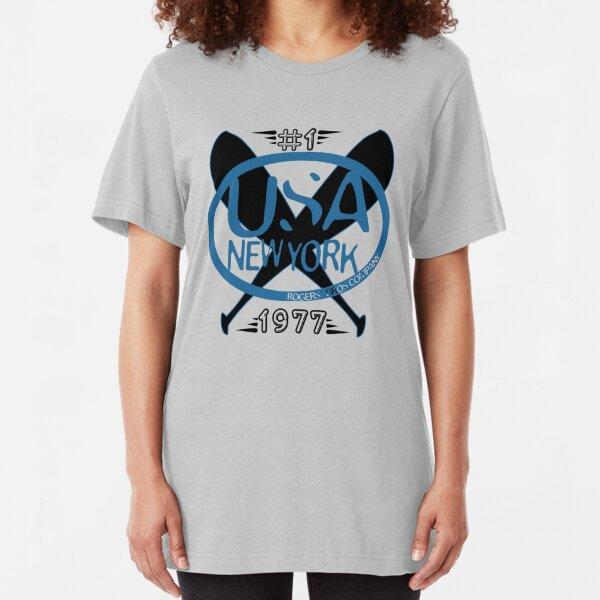 usa new york baseball tshirt by rogers bros Slim Fit T-Shirt