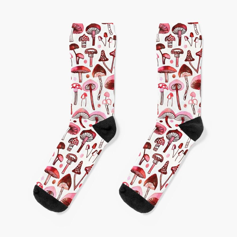 Pink Mushrooms  Socks