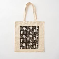 Coffee black and white pattern Cotton Tote Bag