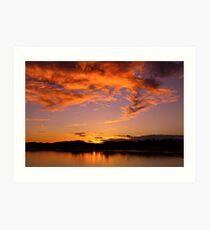 January Sunset at Fern Ridge Lake Art Print