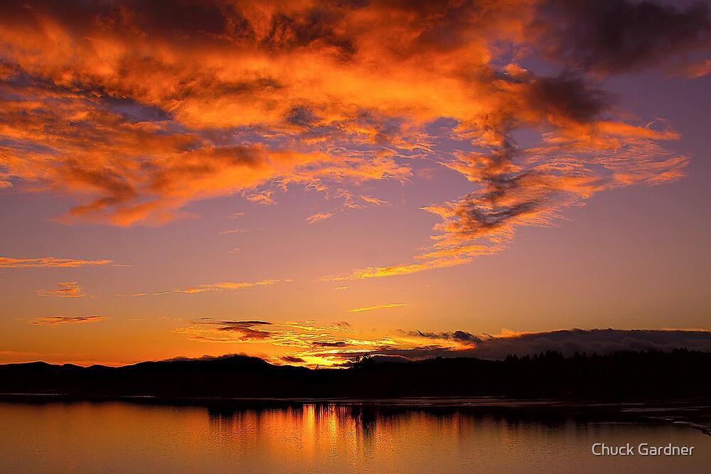 January Sunset at Fern Ridge Lake by Chuck Gardner