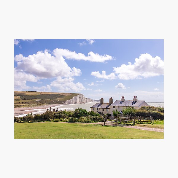 Coastguard Cottages at Cuckmere Haven, East Sussex, England Photographic Print