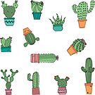 Cute Hand Drawn Potted Cactus Plants Sticker Pack by HotHibiscus