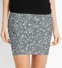 Silver Glitter Sparkles Texture Photography Mini Skirt