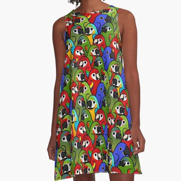 Too Many Birds! - Macaw Squad A-Line Dress