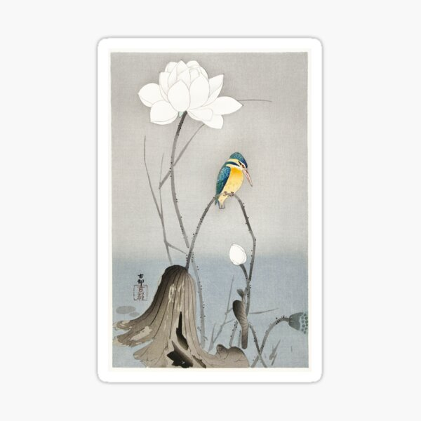 Kingfisher with Lotus Flower Sticker