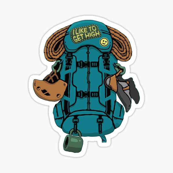 Climbing Backpack and Gears | I Like to Get High Sticker