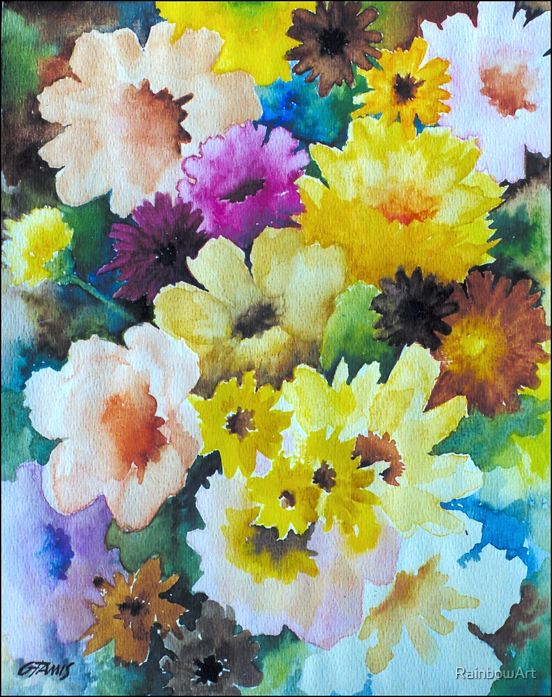 CHRYSANTHEMUMS AND ASTERS - AQUAREL by RainbowArt