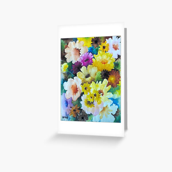 CHRYSANTHEMUMS AND ASTERS - AQUAREL Greeting Card