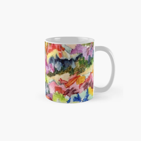 Pink Hillside, abstract expressionist watercolor by Pamela Parsons. Trees, mountains, valley Classic Mug
