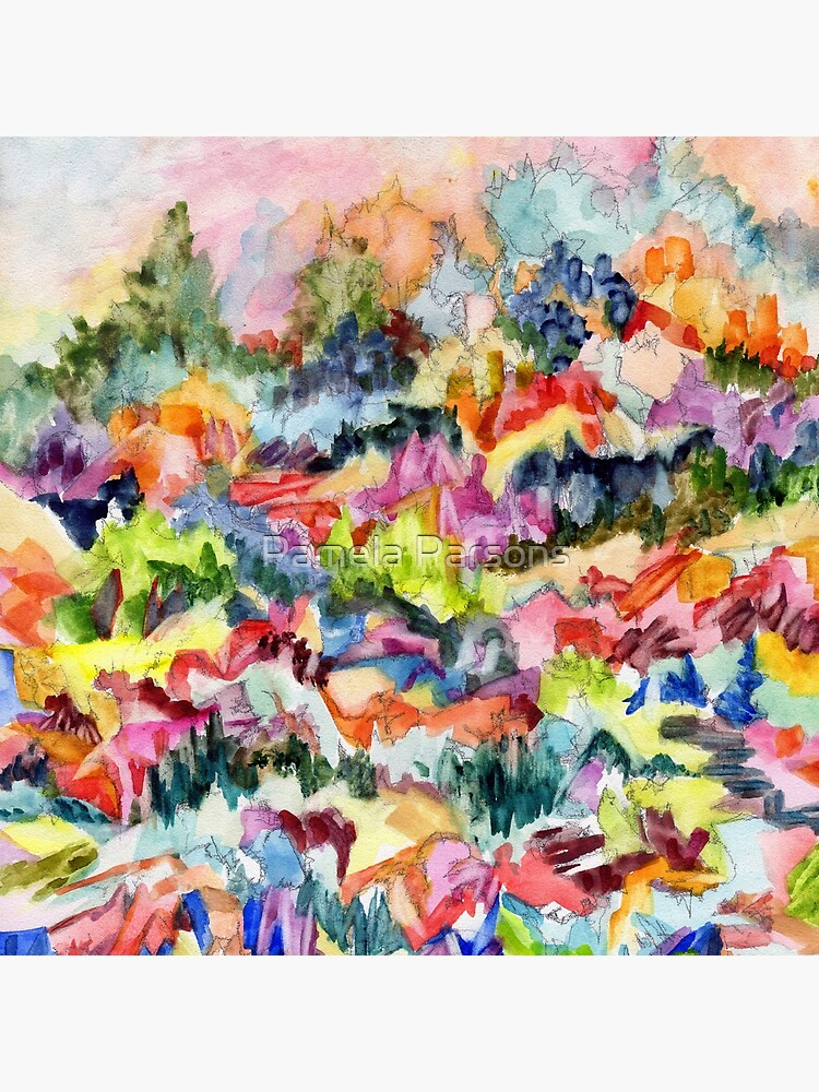 Pink Hillside, abstract expressionist watercolor by Pamela Parsons. Trees, mountains, valley by parsonsp