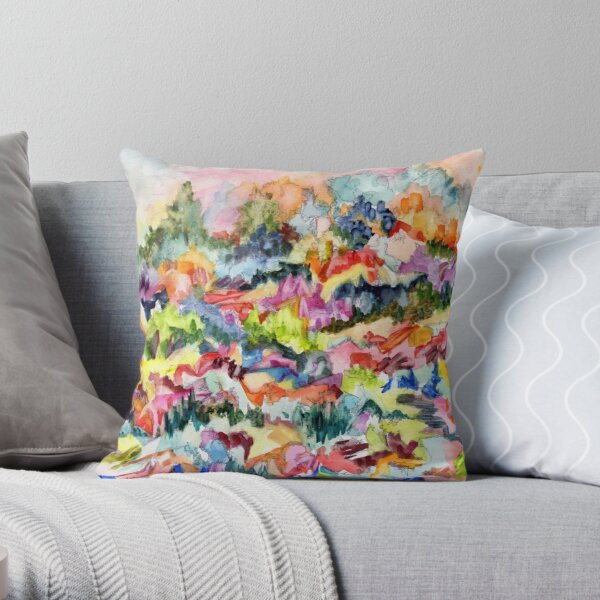 Pink Hillside, abstract expressionist watercolor by Pamela Parsons. Trees, mountains, valley Throw Pillow