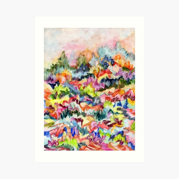 Pink Hillside, abstract expressionist watercolor by Pamela Parsons. Trees, mountains, valley Art Print