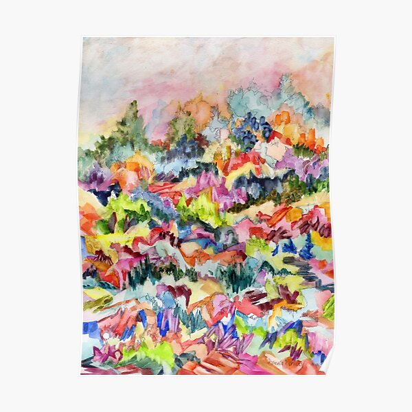 Pink Hillside, abstract expressionist watercolor by Pamela Parsons. Trees, mountains, valley Poster