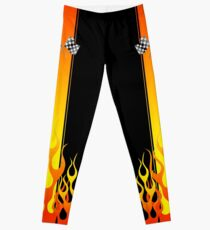 Hot Racing Flames Stripes Leggings