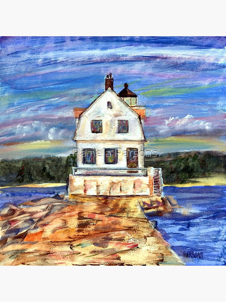 Rockland Lighthouse, Maine, from mixed media painting by Pamela Parsons, Maine coast, ocean, breakwater, monotype and oil paint. by parsonsp