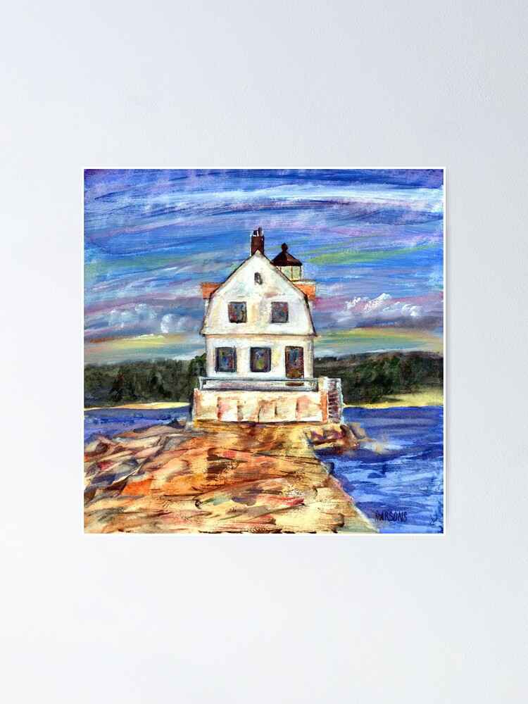 Alternate view of Rockland Lighthouse, Maine, from mixed media painting by Pamela Parsons, Maine coast, ocean, breakwater, monotype and oil paint. Poster