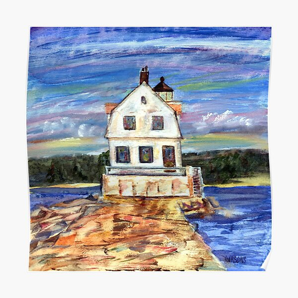 Rockland Lighthouse, Maine, from mixed media painting by Pamela Parsons, Maine coast, ocean, breakwater, monotype and oil paint. Poster