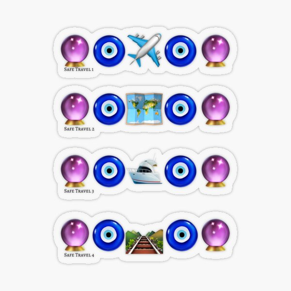 Emoji Travel Protection Spell Set Transparent Sticker