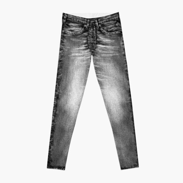 Acid Wash Style Black Jeans Leggings