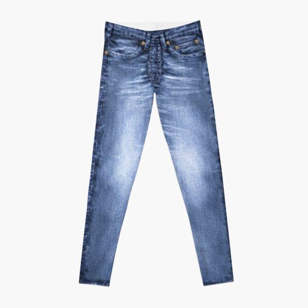 Acid Wash Style Blue Jeans Leggings