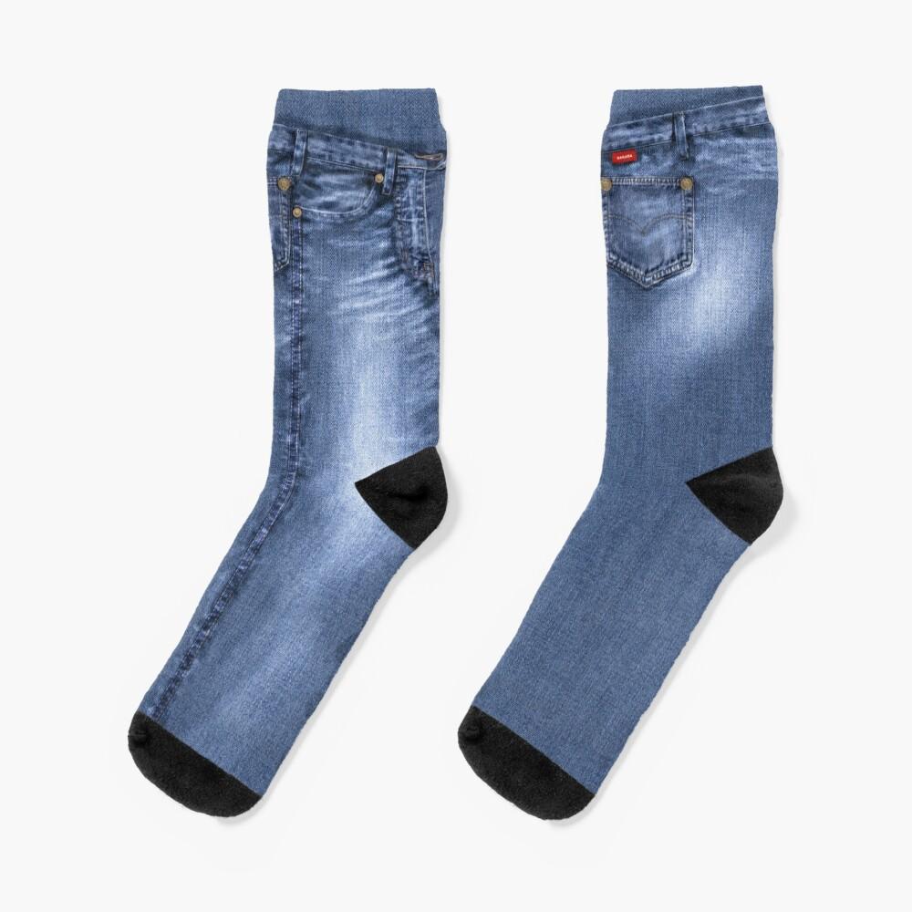 Acid Wash Style Blue Jeans Socks