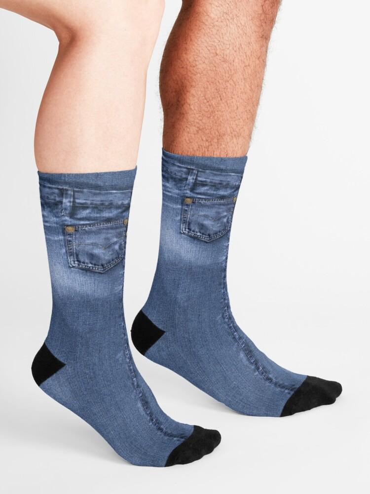 Alternate view of Acid Wash Style Blue Jeans Socks