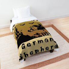 German Shepherd in Halloween Comforter