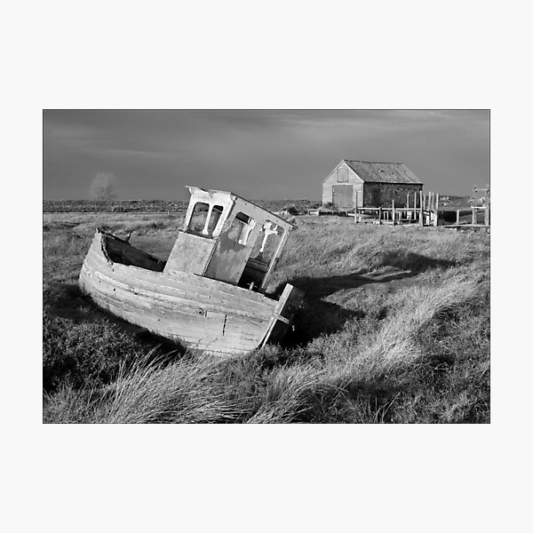 Decaying Boat and Boat Shed, Thornham, Norfolk Photographic Print