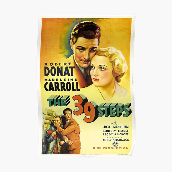Vintage Hollywood Nostalgia The 39 Steps Alfred Hitchcock Film Movie Advertisement Poster Poster