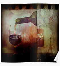 Memories of Red Wine In Paris Poster