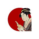 Japanese Flag - Woman Reading a Book by weavernap