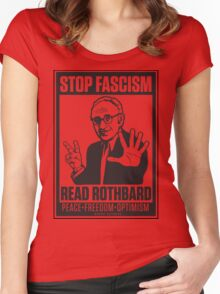 Stop Fascism: Read Rothbard Women's Fitted Scoop T-Shirt