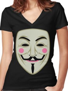 Guy Fawkes Mask Women's Fitted V-Neck T-Shirt
