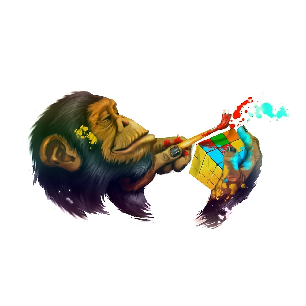 Monkey rubik's cube by Aikeno