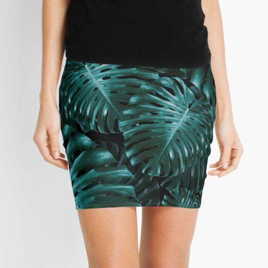 Tropical Monstera Jungle Night Leaves Pattern #1 #tropical #decor #art  Mini Skirt