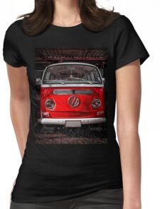 Volkswagen combi Red Womens Fitted T-Shirt
