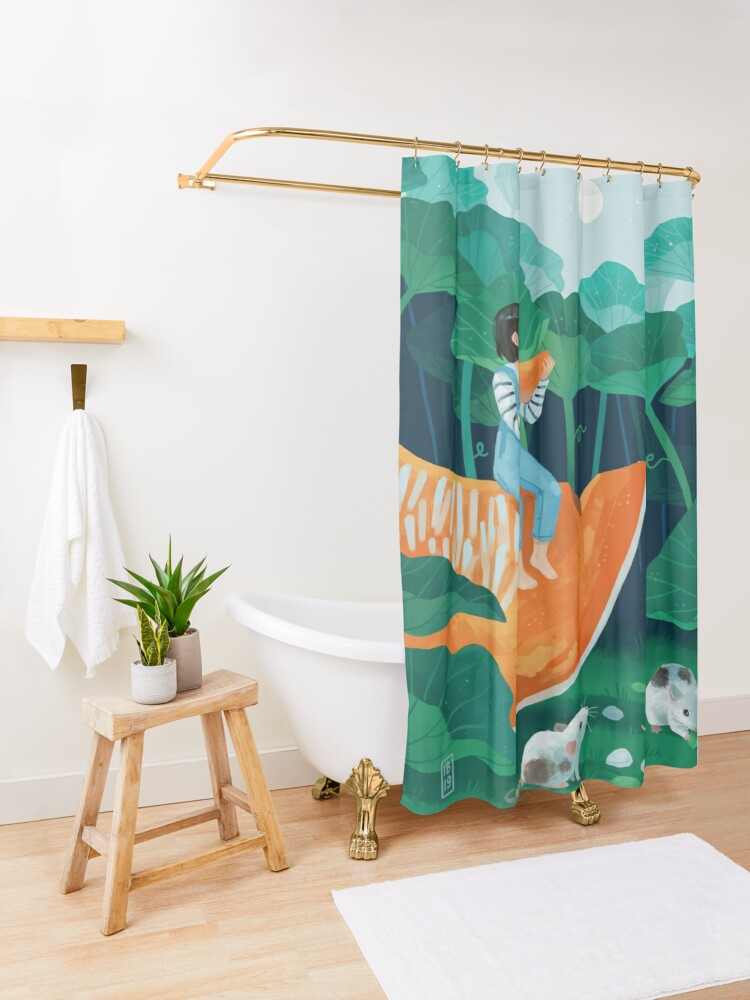 Alternate view of Pumpkin harvest Shower Curtain