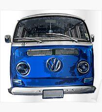 Volkswagen Blue combi cutout  Poster