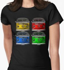 Multi colors Volkswagen kombi Womens Fitted T-Shirt