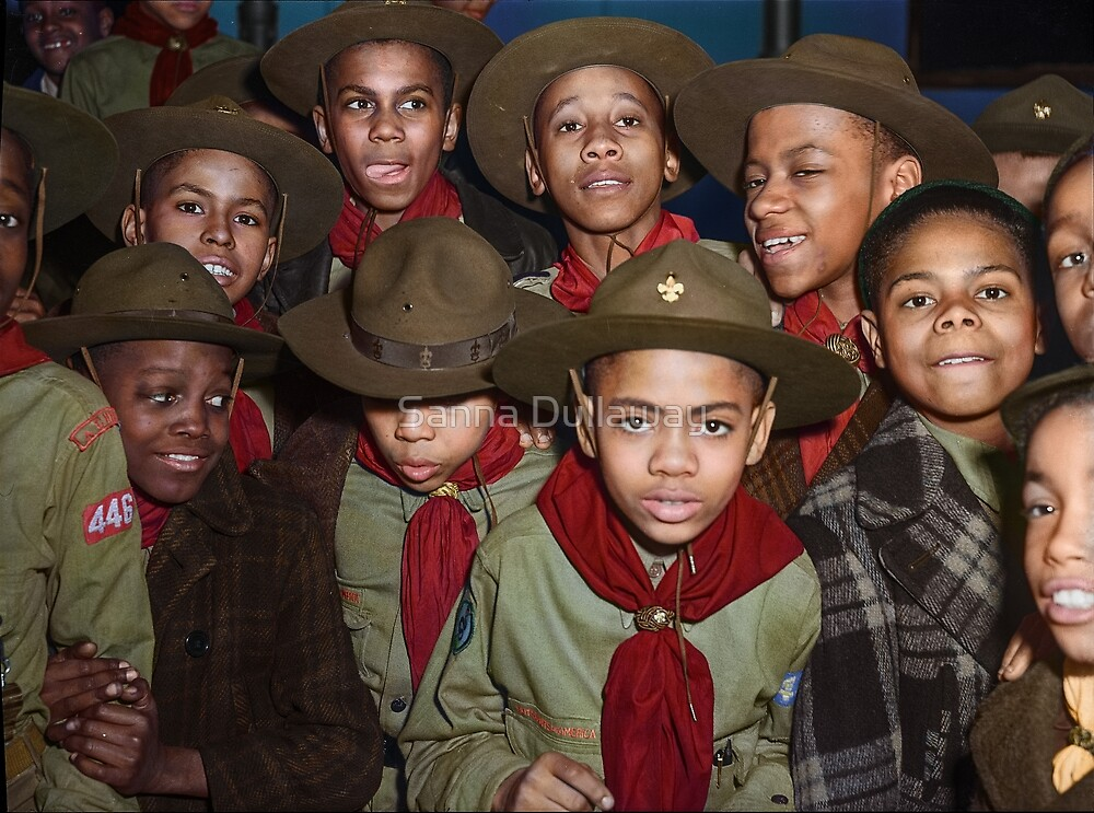 Troop 446 Boy Scouts meeting in Chicago, 1942 by Sanna Dullaway